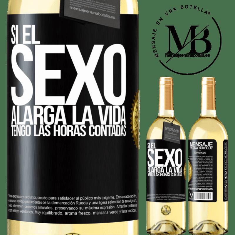 24,95 € Envío gratis | Vino Blanco Edición WHITE Si el sexo alarga la vida ¡Tengo las horas contadas! Etiqueta Negra. Etiqueta personalizable Vino joven Cosecha 2020 Verdejo