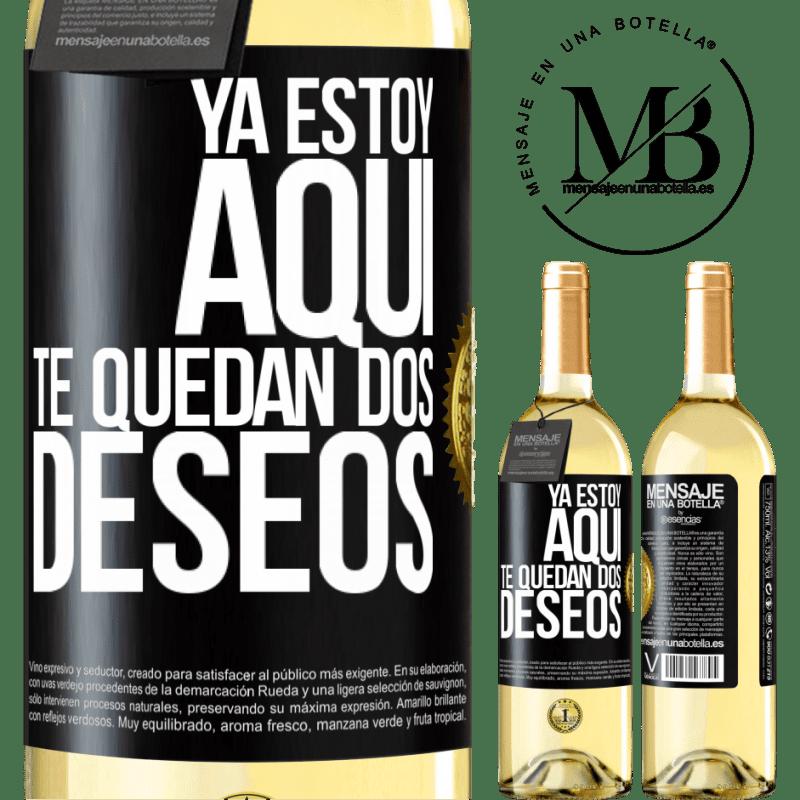 24,95 € Envoi gratuit | Vin blanc Édition WHITE Je suis là. Vous avez deux souhaits Étiquette Noire. Étiquette personnalisable Vin jeune Récolte 2020 Verdejo