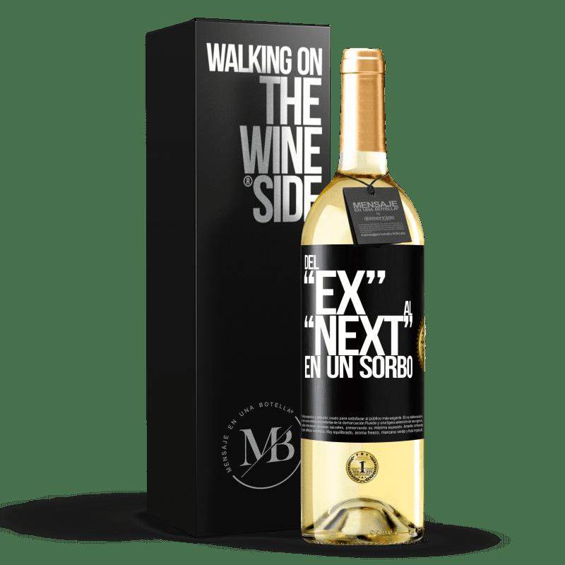 24,95 € Envío gratis | Vino Blanco Edición WHITE Del EX al NEXT en un sorbo Etiqueta Negra. Etiqueta personalizable Vino joven Cosecha 2020 Verdejo