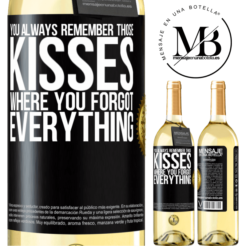 24,95 € Free Shipping | White Wine WHITE Edition You always remember those kisses where you forgot everything Black Label. Customizable label Young wine Harvest 2020 Verdejo
