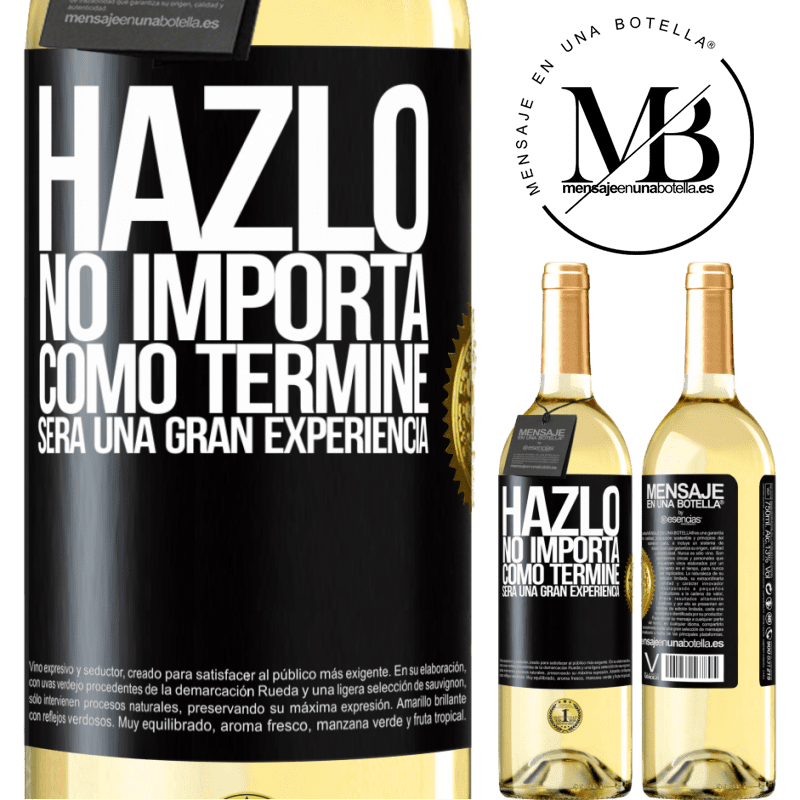 24,95 € Envío gratis | Vino Blanco Edición WHITE Hazlo, no importa como terminé, será una gran experiencia Etiqueta Negra. Etiqueta personalizable Vino joven Cosecha 2020 Verdejo