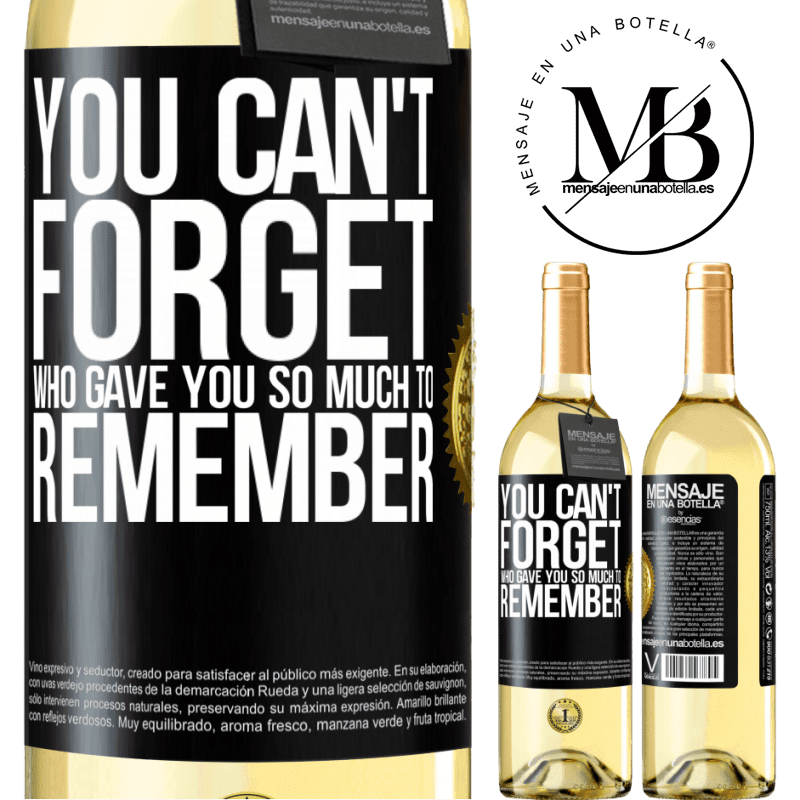 24,95 € Free Shipping | White Wine WHITE Edition You can't forget who gave you so much to remember Black Label. Customizable label Young wine Harvest 2020 Verdejo