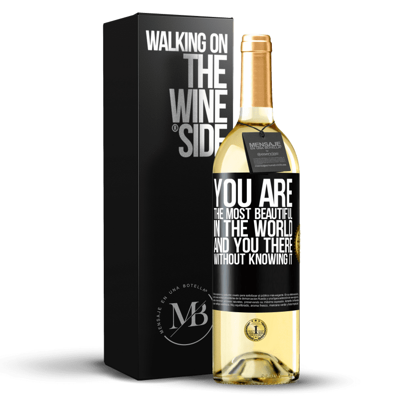 24,95 € Free Shipping | White Wine WHITE Edition You are the most beautiful in the world, and you there, without knowing it Black Label. Customizable label Young wine Harvest 2020 Verdejo