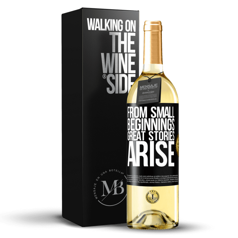24,95 € Free Shipping | White Wine WHITE Edition From small beginnings great stories arise Black Label. Customizable label Young wine Harvest 2020 Verdejo