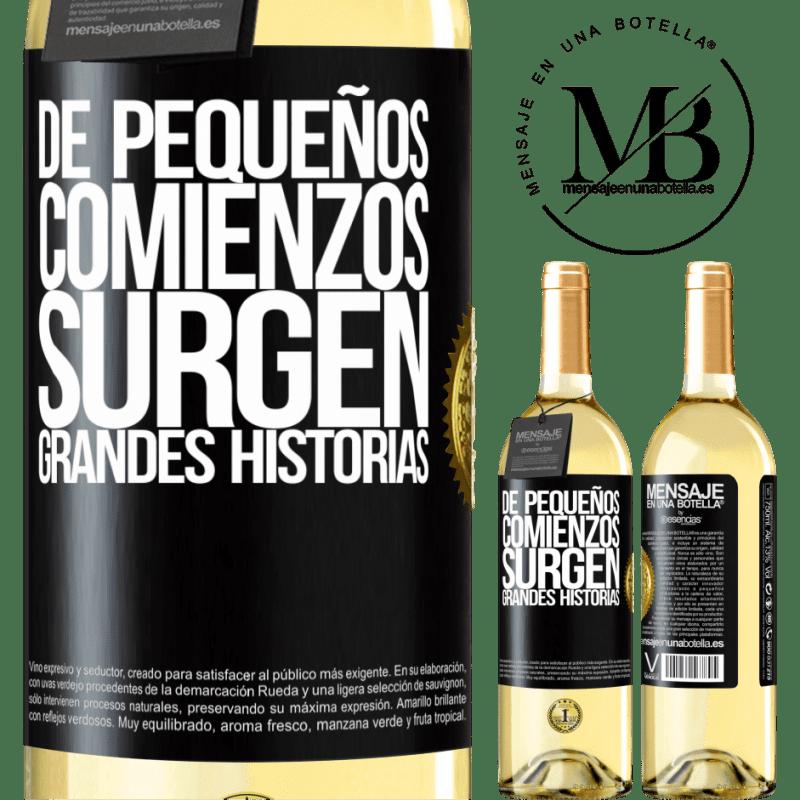 24,95 € Envío gratis | Vino Blanco Edición WHITE De pequeños comienzos surgen grandes historias Etiqueta Negra. Etiqueta personalizable Vino joven Cosecha 2020 Verdejo