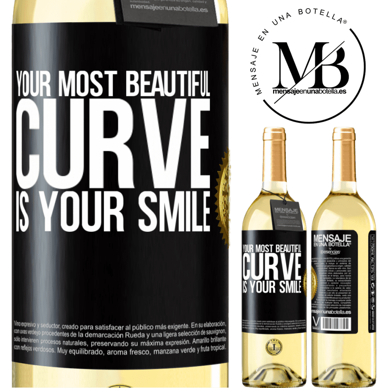 24,95 € Free Shipping | White Wine WHITE Edition Your most beautiful curve is your smile Black Label. Customizable label Young wine Harvest 2020 Verdejo