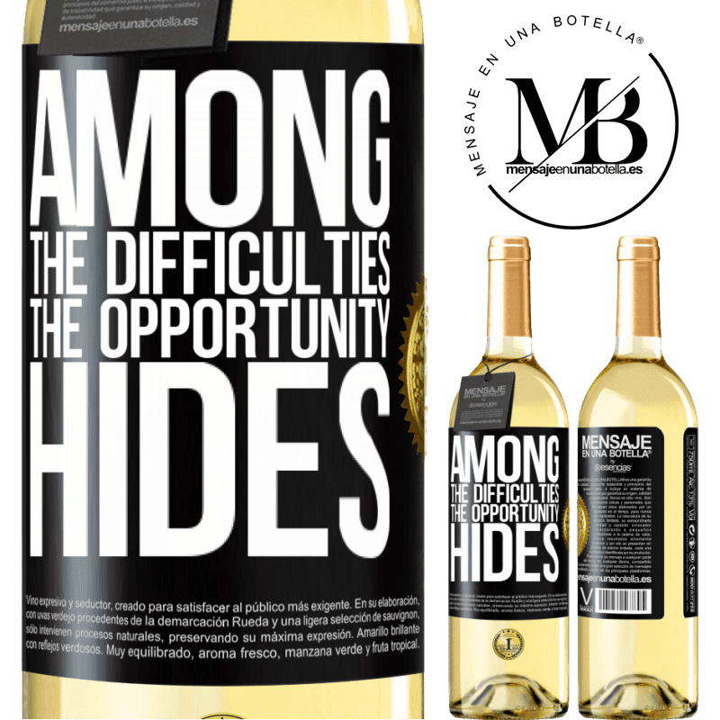24,95 € Free Shipping | White Wine WHITE Edition Among the difficulties the opportunity hides Black Label. Customizable label Young wine Harvest 2020 Verdejo