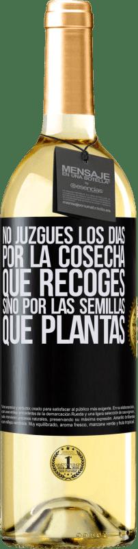 24,95 € Envío gratis | Vino Blanco Edición WHITE No juzgues los días por la cosecha que recoges, sino por las semillas que plantas Etiqueta Negra. Etiqueta personalizable Vino joven Cosecha 2020 Verdejo