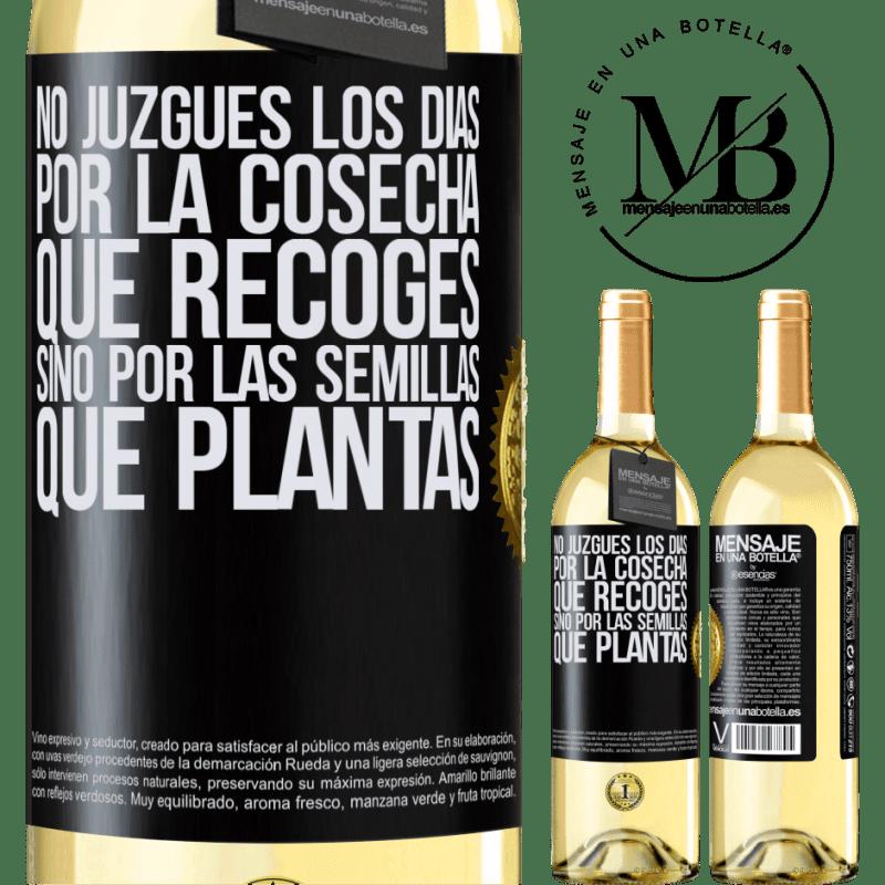 24,95 € Envoi gratuit | Vin blanc Édition WHITE Ne jugez pas les jours par la récolte que vous récoltez, mais par les graines que vous plantez Étiquette Noire. Étiquette personnalisable Vin jeune Récolte 2020 Verdejo