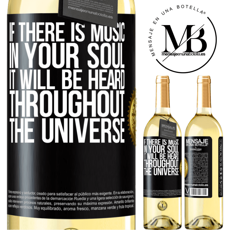 24,95 € Free Shipping | White Wine WHITE Edition If there is music in your soul, it will be heard throughout the universe Black Label. Customizable label Young wine Harvest 2020 Verdejo