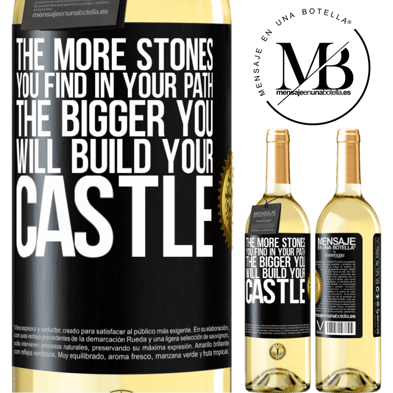 24,95 € Free Shipping | White Wine WHITE Edition The more stones you find in your path, the bigger you will build your castle Black Label. Customizable label Young wine Harvest 2020 Verdejo