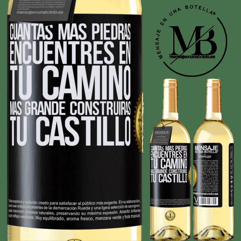 24,95 € Envoi gratuit   Vin blanc Édition WHITE Plus vous trouverez de pierres sur votre chemin, plus vous construirez votre château Étiquette Noire. Étiquette personnalisable Vin jeune Récolte 2020 Verdejo