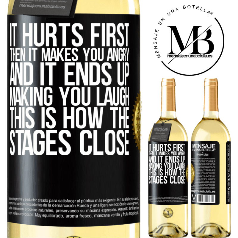 24,95 € Free Shipping   White Wine WHITE Edition It hurts first, then it makes you angry, and it ends up making you laugh. This is how the stages close Black Label. Customizable label Young wine Harvest 2020 Verdejo