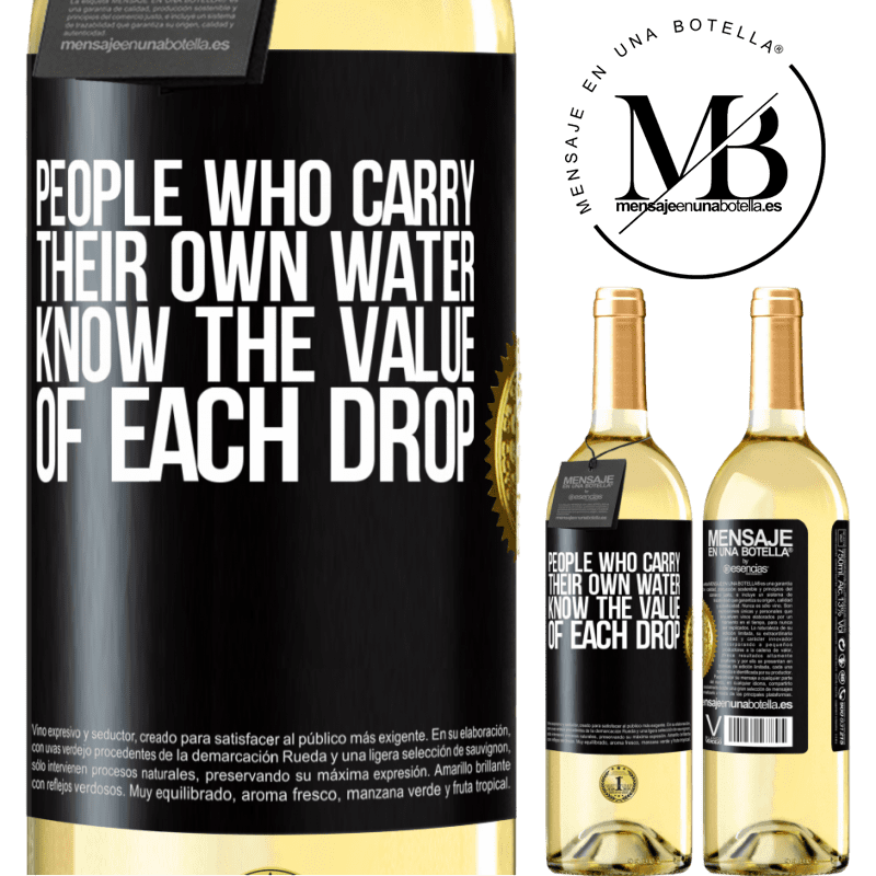 24,95 € Free Shipping   White Wine WHITE Edition People who carry their own water, know the value of each drop Black Label. Customizable label Young wine Harvest 2020 Verdejo