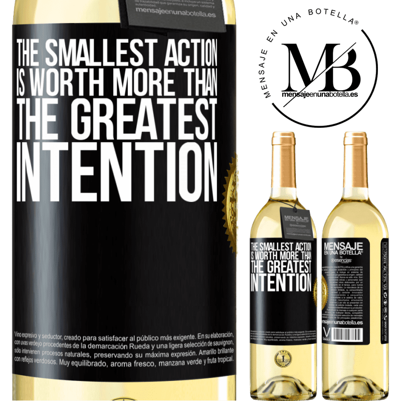 24,95 € Free Shipping | White Wine WHITE Edition The smallest action is worth more than the greatest intention Black Label. Customizable label Young wine Harvest 2020 Verdejo