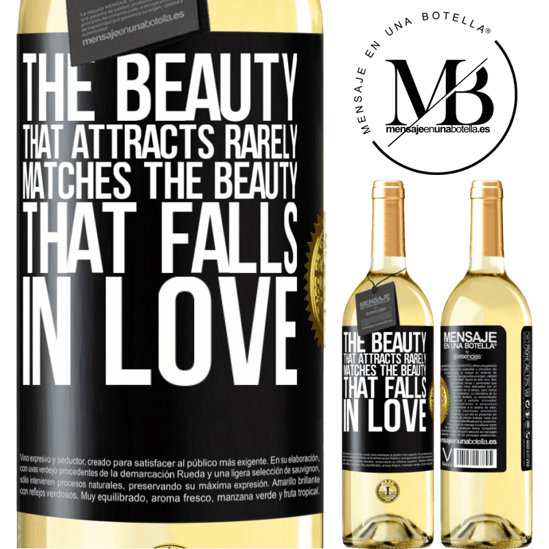 24,95 € Free Shipping | White Wine WHITE Edition The beauty that attracts rarely matches the beauty that falls in love Black Label. Customizable label Young wine Harvest 2020 Verdejo