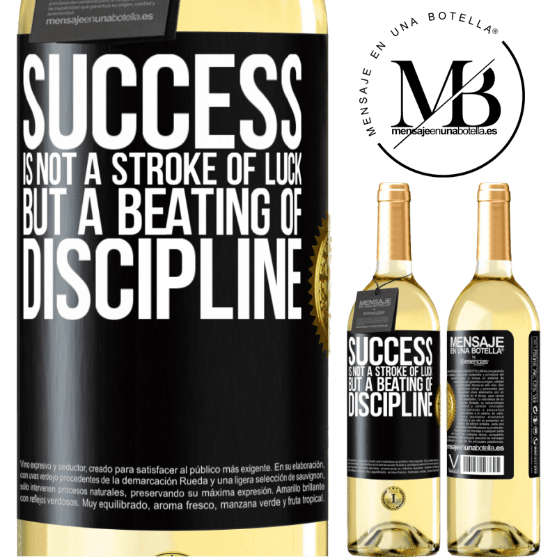 24,95 € Free Shipping | White Wine WHITE Edition Success is not a stroke of luck, but a beating of discipline Black Label. Customizable label Young wine Harvest 2020 Verdejo