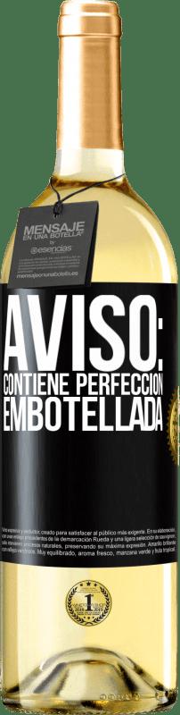 24,95 € Envío gratis | Vino Blanco Edición WHITE Aviso: contiene perfección embotellada Etiqueta Negra. Etiqueta personalizable Vino joven Cosecha 2020 Verdejo
