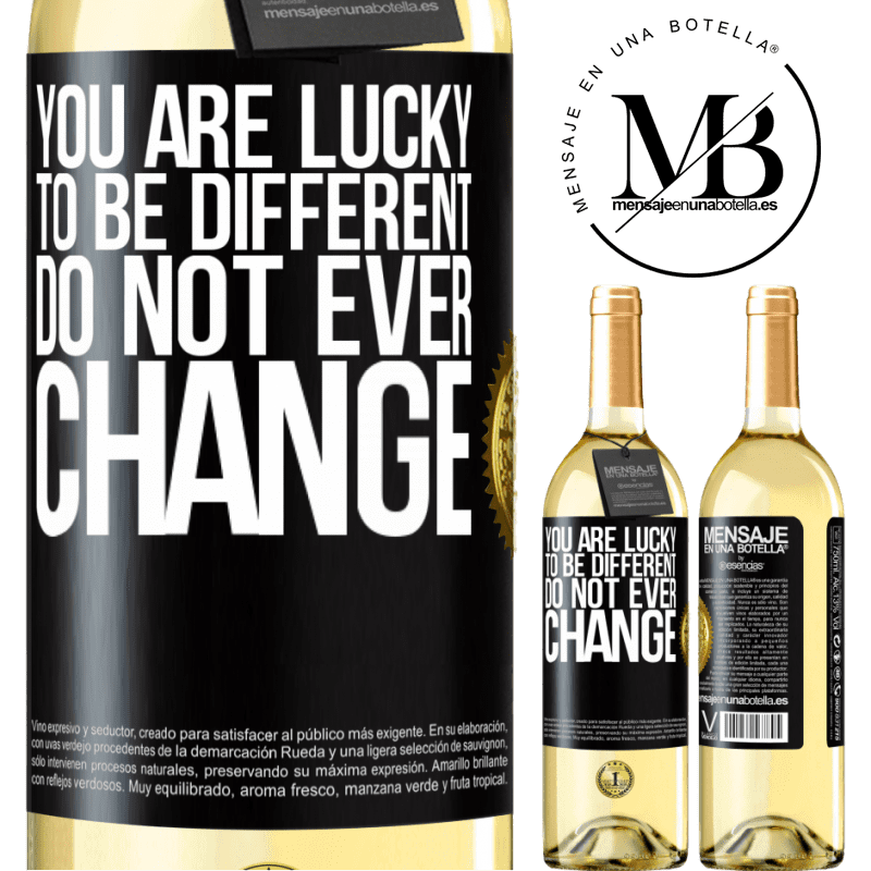 24,95 € Free Shipping   White Wine WHITE Edition You are lucky to be different. Do not ever change Black Label. Customizable label Young wine Harvest 2020 Verdejo