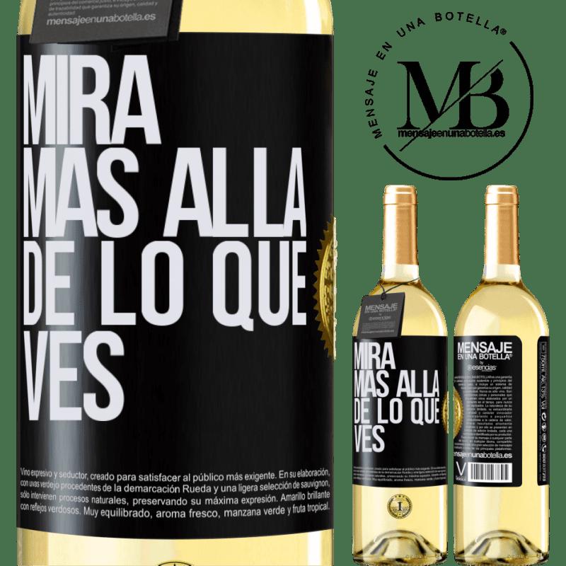 24,95 € Envío gratis | Vino Blanco Edición WHITE Mira más allá de lo que ves Etiqueta Negra. Etiqueta personalizable Vino joven Cosecha 2020 Verdejo