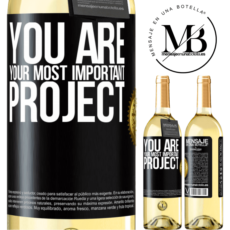 24,95 € Free Shipping | White Wine WHITE Edition You are your most important project Black Label. Customizable label Young wine Harvest 2020 Verdejo