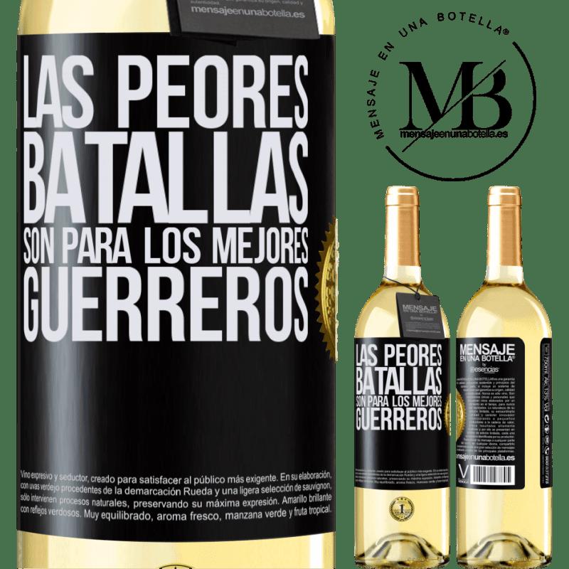 24,95 € Envoi gratuit   Vin blanc Édition WHITE Les pires batailles sont pour les meilleurs guerriers Étiquette Noire. Étiquette personnalisable Vin jeune Récolte 2020 Verdejo