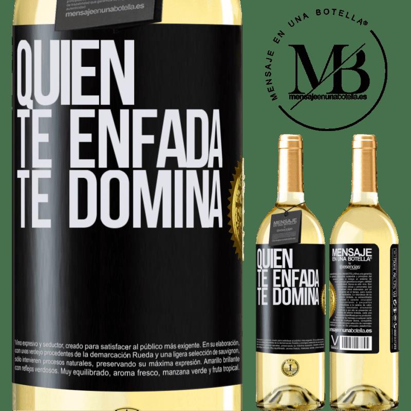 24,95 € Envoi gratuit | Vin blanc Édition WHITE Qui te met en colère te domine Étiquette Noire. Étiquette personnalisable Vin jeune Récolte 2020 Verdejo