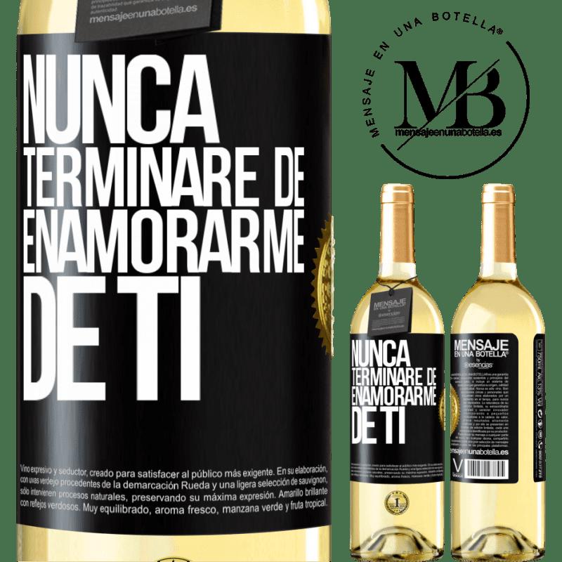 24,95 € Envoi gratuit | Vin blanc Édition WHITE Je ne cesserai jamais de tomber amoureux de toi Étiquette Noire. Étiquette personnalisable Vin jeune Récolte 2020 Verdejo