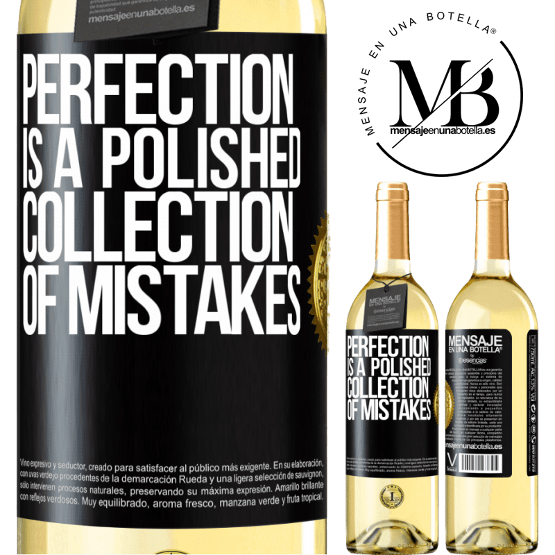 24,95 € Free Shipping | White Wine WHITE Edition Perfection is a polished collection of mistakes Black Label. Customizable label Young wine Harvest 2020 Verdejo
