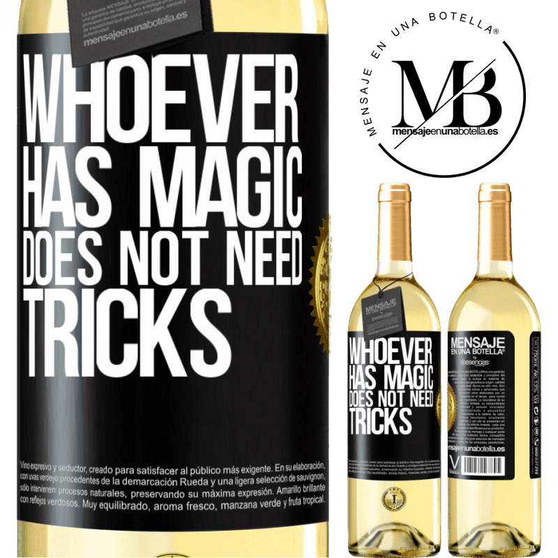 24,95 € Free Shipping | White Wine WHITE Edition Whoever has magic does not need tricks Black Label. Customizable label Young wine Harvest 2020 Verdejo
