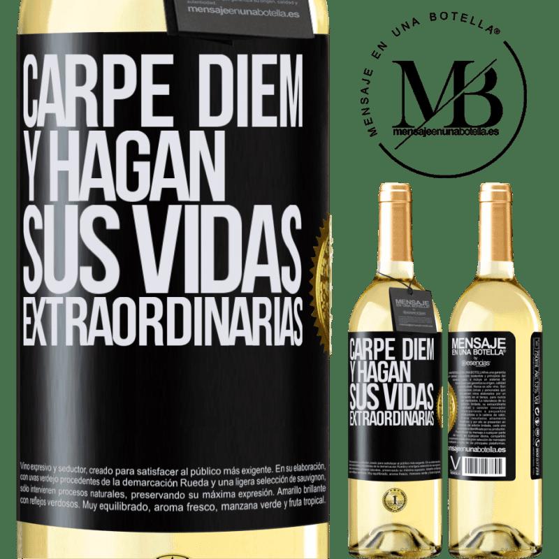 24,95 € Envío gratis | Vino Blanco Edición WHITE Carpe Diem y hagan sus vidas extraordinarias Etiqueta Negra. Etiqueta personalizable Vino joven Cosecha 2020 Verdejo
