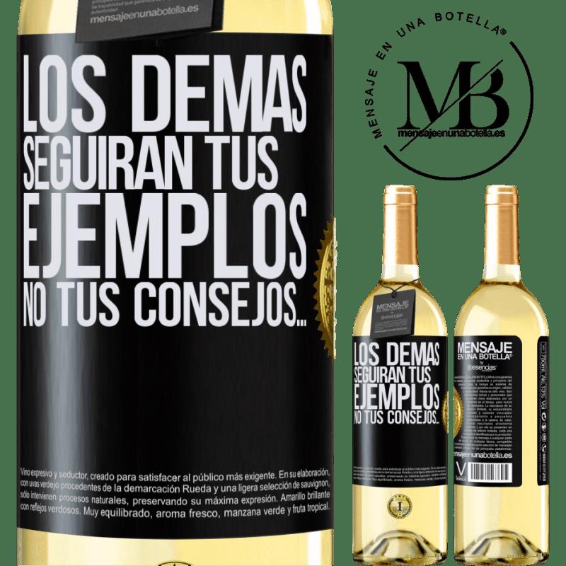 24,95 € Envío gratis   Vino Blanco Edición WHITE Los demás seguirán tus ejemplos, no tus consejos… Etiqueta Negra. Etiqueta personalizable Vino joven Cosecha 2020 Verdejo