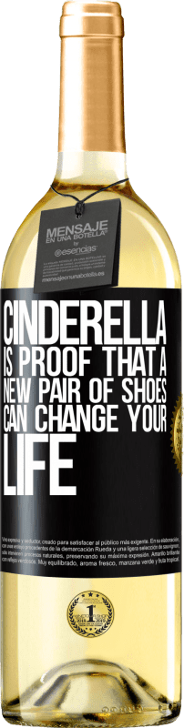 24,95 € Free Shipping | White Wine WHITE Edition Cinderella is proof that a new pair of shoes can change your life Black Label. Customizable label Young wine Harvest 2020 Verdejo