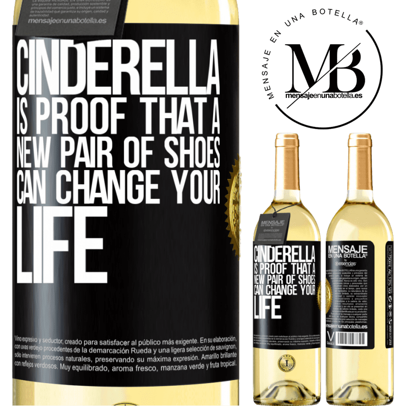 24,95 € Free Shipping   White Wine WHITE Edition Cinderella is proof that a new pair of shoes can change your life Black Label. Customizable label Young wine Harvest 2020 Verdejo