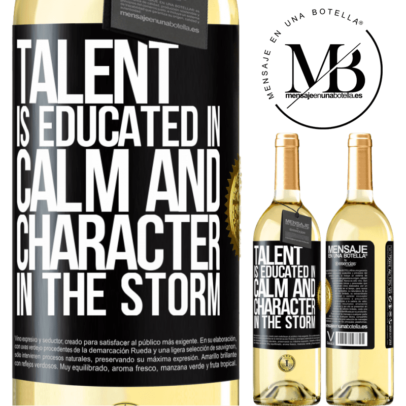 24,95 € Free Shipping   White Wine WHITE Edition Talent is educated in calm and character in the storm Black Label. Customizable label Young wine Harvest 2020 Verdejo