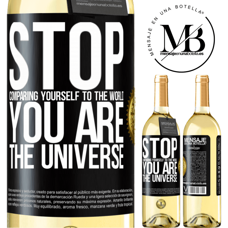 24,95 € Free Shipping   White Wine WHITE Edition Stop comparing yourself to the world, you are the universe Black Label. Customizable label Young wine Harvest 2020 Verdejo