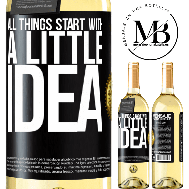 24,95 € Free Shipping   White Wine WHITE Edition It all starts with a little idea Black Label. Customizable label Young wine Harvest 2020 Verdejo