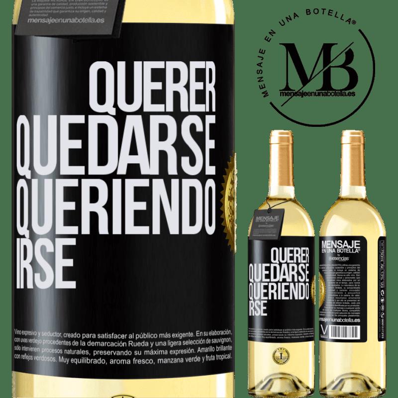 24,95 € Envoi gratuit   Vin blanc Édition WHITE Vouloir rester vouloir partir Étiquette Noire. Étiquette personnalisable Vin jeune Récolte 2020 Verdejo
