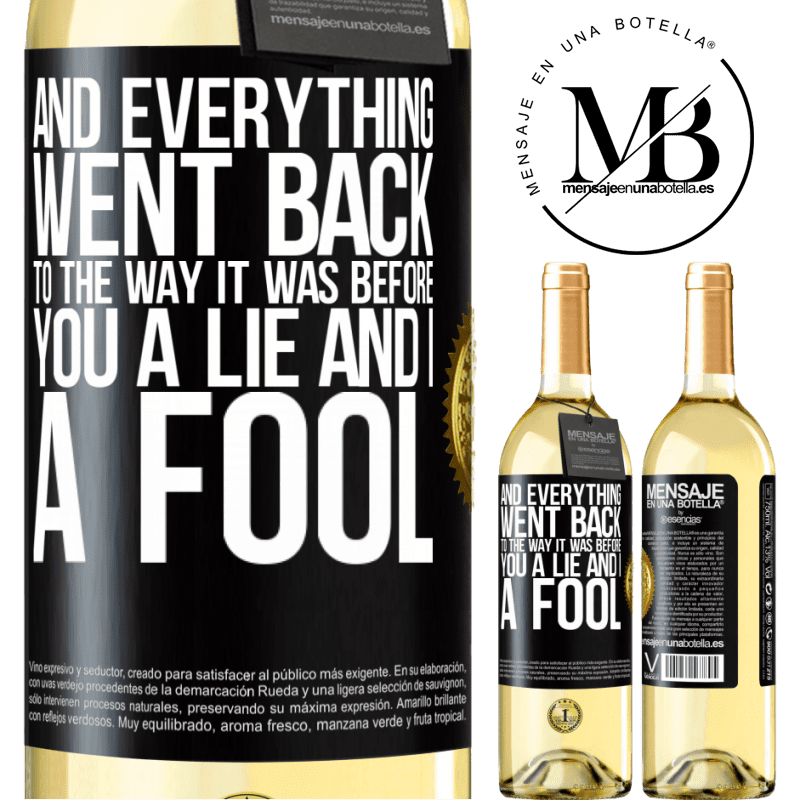 24,95 € Free Shipping   White Wine WHITE Edition And everything went back to the way it was before. You a lie and I a fool Black Label. Customizable label Young wine Harvest 2020 Verdejo