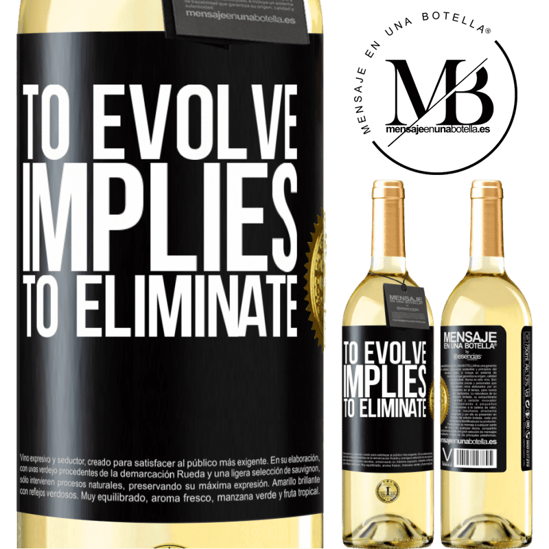 24,95 € Free Shipping | White Wine WHITE Edition To evolve implies to eliminate Black Label. Customizable label Young wine Harvest 2020 Verdejo