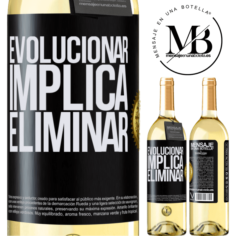 24,95 € Envoi gratuit   Vin blanc Édition WHITE Évoluer implique d'éliminer Étiquette Noire. Étiquette personnalisable Vin jeune Récolte 2020 Verdejo