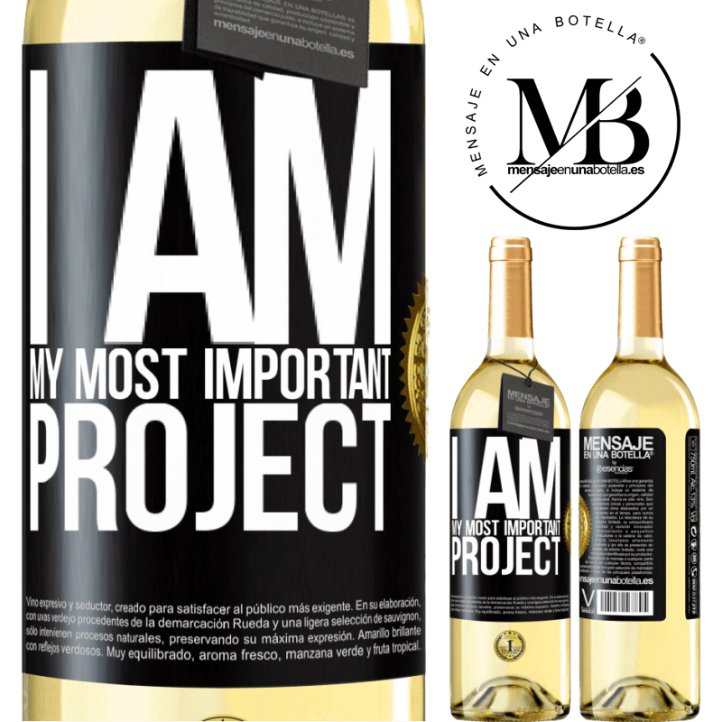 24,95 € Free Shipping | White Wine WHITE Edition I am my most important project Black Label. Customizable label Young wine Harvest 2020 Verdejo