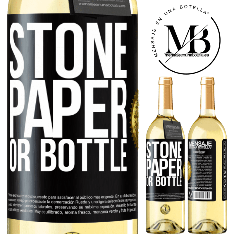 24,95 € Free Shipping | White Wine WHITE Edition Stone, paper or bottle Black Label. Customizable label Young wine Harvest 2020 Verdejo