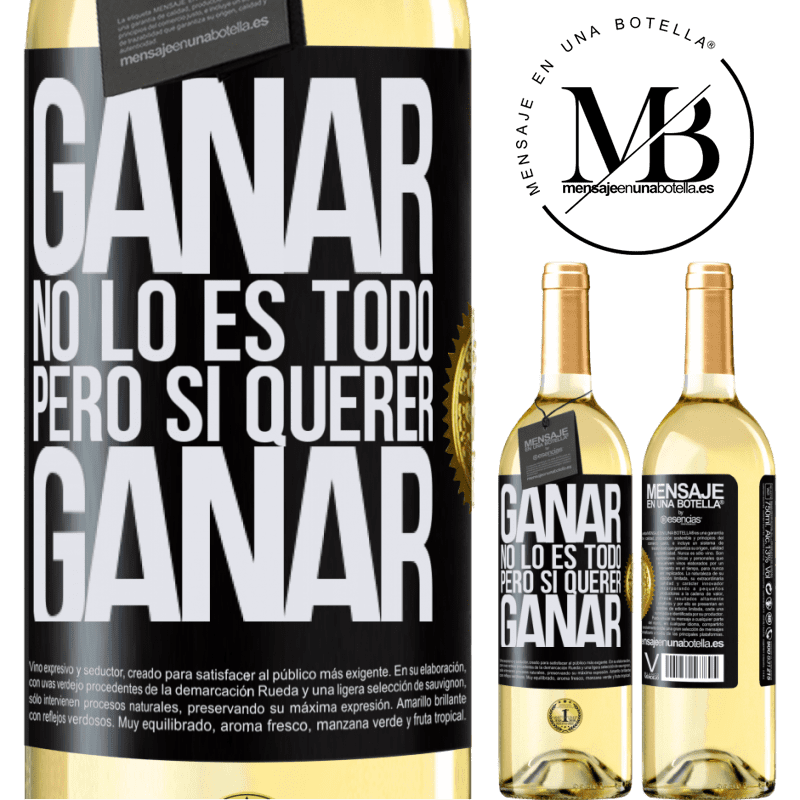 24,95 € Envío gratis | Vino Blanco Edición WHITE Ganar no lo es todo, pero sí querer ganar Etiqueta Negra. Etiqueta personalizable Vino joven Cosecha 2020 Verdejo