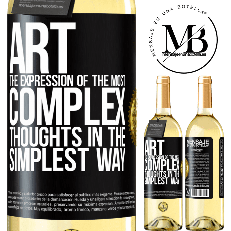 24,95 € Free Shipping | White Wine WHITE Edition ART. The expression of the most complex thoughts in the simplest way Black Label. Customizable label Young wine Harvest 2020 Verdejo
