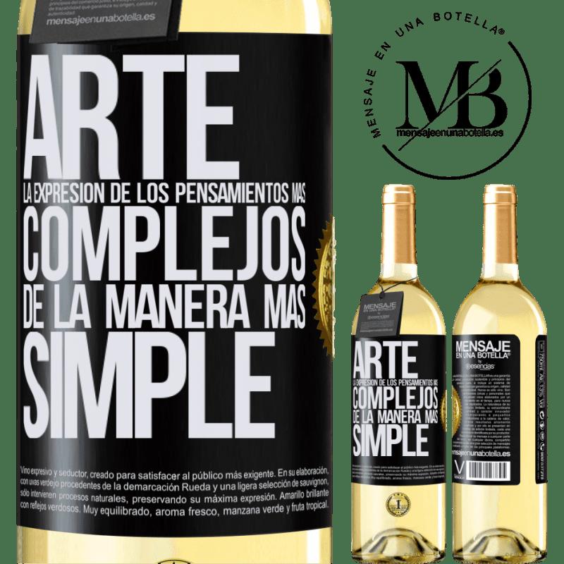 24,95 € Envoi gratuit | Vin blanc Édition WHITE ART L'expression des pensées les plus complexes de la manière la plus simple Étiquette Noire. Étiquette personnalisable Vin jeune Récolte 2020 Verdejo