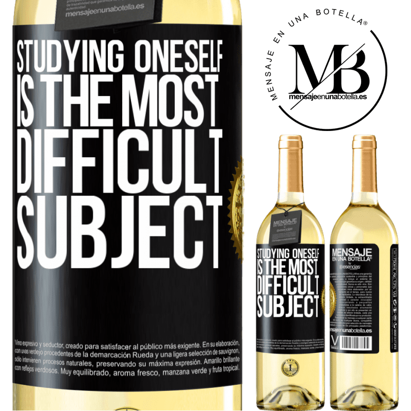 24,95 € Free Shipping   White Wine WHITE Edition Studying oneself is the most difficult subject Black Label. Customizable label Young wine Harvest 2020 Verdejo