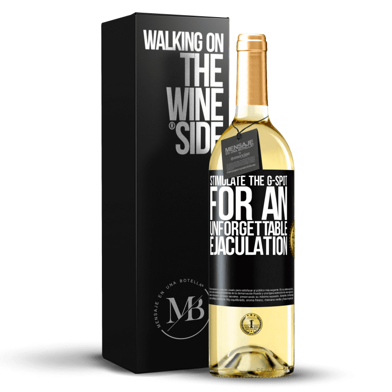 24,95 € Free Shipping | White Wine WHITE Edition Stimulate the G-spot for an unforgettable ejaculation Black Label. Customizable label Young wine Harvest 2020 Verdejo