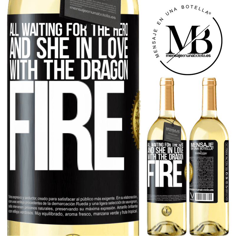 24,95 € Free Shipping | White Wine WHITE Edition All waiting for the hero and she in love with the dragon fire Black Label. Customizable label Young wine Harvest 2020 Verdejo