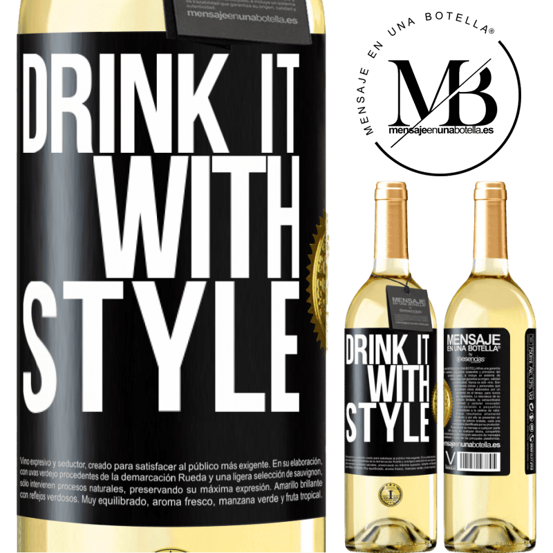24,95 € Free Shipping | White Wine WHITE Edition Drink it with style Black Label. Customizable label Young wine Harvest 2020 Verdejo